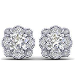 1.50 CTW Certified VS/SI Diamond Art Deco Stud Earrings 14K White Gold - REF-196R2K - 30513