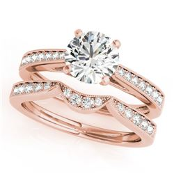 1.19 CTW Certified VS/SI Diamond Solitaire 2Pc Wedding Set 14K Rose Gold - REF-209A3V - 31728