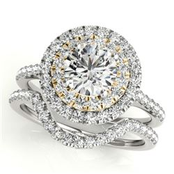 1.70 CTW Certified VS/SI Diamond 2Pc Set Solitaire Halo 14K White & Yellow Gold - REF-400A2V - 30689