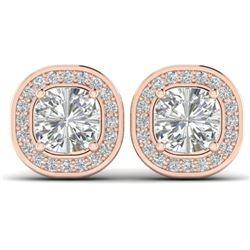 2 CTW Cushion Cut Certified VS/SI Diamond Art Deco Stud Earrings 14K Rose Gold - REF-390F2N - 30337