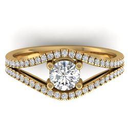 1.05 CTW Certified VS/SI Diamond Art Deco Ring 14K Yellow Gold - REF-126K7W - 30302