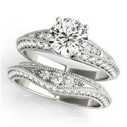 1.51 CTW Certified VS/SI Diamond Solitaire 2Pc Wedding Set Antique 14K White Gold - REF-178F2N - 314