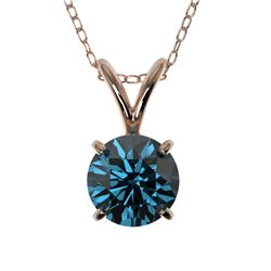 0.78 CTW Certified Intense Blue SI Diamond Solitaire Necklace 10K Rose Gold - REF-82X5R - 36745
