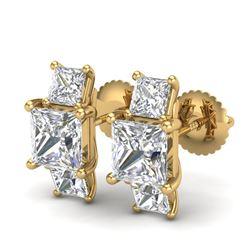 3.08 CTW Princess VS/SI Diamond Art Deco Stud Earrings 18K Yellow Gold - REF-668F2N - 37201