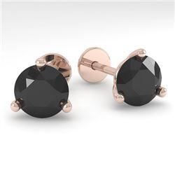 2.0 CTW Black Certified Diamond Stud Earrings Martini 14K Rose Gold - REF-45X7R - 38319