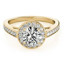 1.45 CTW Certified VS/SI Diamond Solitaire Halo Ring 18K Yellow Gold - REF-378N9A - 26568