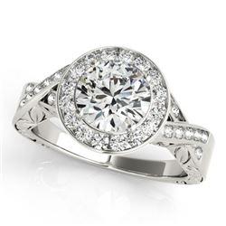 1.75 CTW Certified VS/SI Diamond Solitaire Halo Ring 18K White Gold - REF-623K2W - 27057
