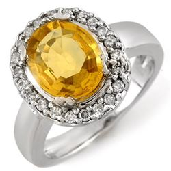 3.40 CTW Yellow Sapphire & Diamond Ring 10K White Gold - REF-61W3H - 10974