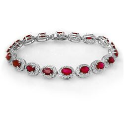 12.75 CTW Ruby Bracelet 18K White Gold - REF-161M8F - 11692