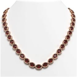 50.08 CTW Garnet & Diamond Necklace Rose Gold 10K Rose Gold - REF-555F6N - 40599