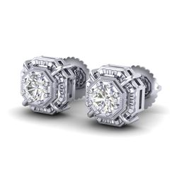 1.11 CTW VS/SI Diamond Solitaire Art Deco Stud Earrings 18K White Gold - REF-218Y2X - 36875