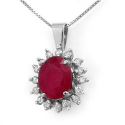 5.32 CTW Ruby & Diamond Pendant 14K White Gold - REF-87F3N - 13815
