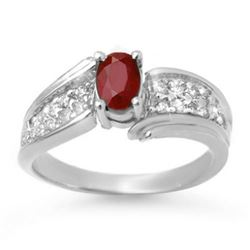 1.43 CTW Ruby & Diamond Ring 18K White Gold - REF-70F9N - 13345