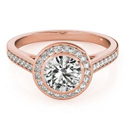1.30 CTW Certified VS/SI Diamond Solitaire Halo Ring 18K Rose Gold - REF-385W3H - 26417