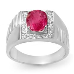 3.25 CTW Pink Sapphire & Diamond Men's Ring 10K White Gold - REF-62A9V - 13420