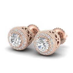 1.55 CTW VS/SI Diamond Solitaire Art Deco Stud Earrings 18K Rose Gold - REF-259M3F - 36963