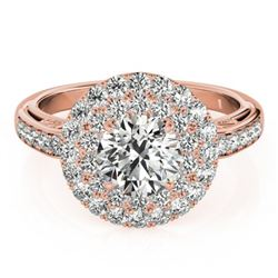 2.25 CTW Certified VS/SI Diamond Solitaire Halo Ring 18K Rose Gold - REF-481K5W - 26881