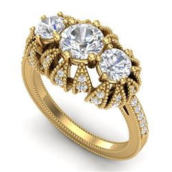 2.26 CTW VS/SI Diamond Solitaire Art Deco 3 Stone Ring 18K Yellow Gold - REF-345K5W - 37003