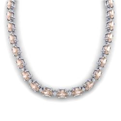 44.25 CTW Morganite & VS/SI Certified Diamond Eternity Necklace 10K White Gold - REF-465W5H - 29427