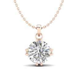 1 CTW VS/SI Diamond Solitaire Art Deco Stud Necklace 18K Rose Gold - REF-294N2A - 36915