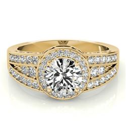 1.50 CTW Certified VS/SI Diamond Solitaire Halo Ring 18K Yellow Gold - REF-398K9W - 26795