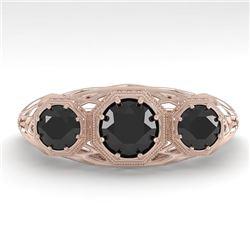 1.0 CTW Past Present Future Black Diamond Ring 18K Rose Gold - REF-81A3V - 36059