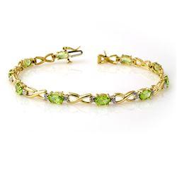 5.03 CTW Peridot & Diamond Bracelet 10K Yellow Gold - REF-69H3M - 13451