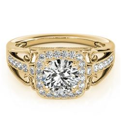 1.30 CTW Certified VS/SI Diamond Solitaire Halo Ring 18K Yellow Gold - REF-388F7N - 26553