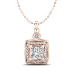 0.91 CTW Princess VS/SI Diamond Art Deco Stud Necklace 18K Rose Gold - REF-145M5F - 37131