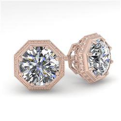 1.0 CTW VS/SI Diamond Stud Solitaire Earrings 18K Rose Gold - REF-147N3A - 35948