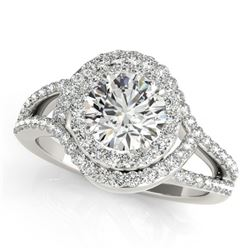 1.60 CTW Certified VS/SI Diamond Solitaire Halo Ring 18K White Gold - REF-245A6V - 26994