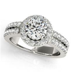 0.85 CTW Certified VS/SI Diamond Solitaire Halo Ring 18K White Gold - REF-155R5K - 26733