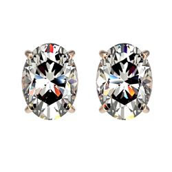 2 CTW Certified VS/SI Quality Oval Diamond Solitaire Stud Earrings 10K Rose Gold - REF-585H2M - 3309