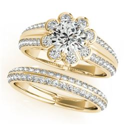 1.21 CTW Certified VS/SI Diamond 2Pc Wedding Set Solitaire Halo 14K Yellow Gold - REF-150Y9X - 31285