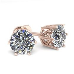 1.50 CTW Certified VS/SI Diamond Stud Solitaire Earrings 18K Rose Gold - REF-298X7R - 35837
