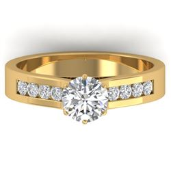 1.10 CTW Certified VS/SI Diamond Solitaire Art Deco Ring 14K Yellow Gold - REF-188R2K - 30347