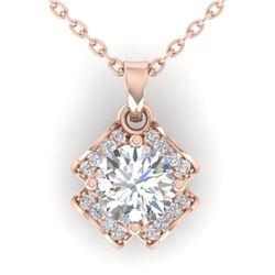 0.95 CTW Certified VS/SI Diamond Art Deco Stud Necklace 14K Rose Gold - REF-114V5Y - 30280