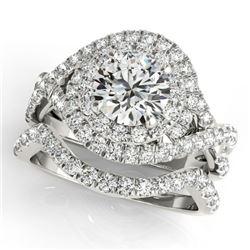 2.26 CTW Certified VS/SI Diamond 2Pc Wedding Set Solitaire Halo 14K White Gold - REF-548X5R - 31037