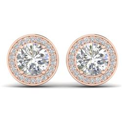 1.85 CTW I-SI Diamond Solitaire Art Deco Micro Stud Halo Earrings 14K Rose Gold - REF-327H3M - 30355