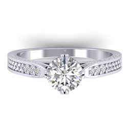1.22 CTW Certified VS/SI Diamond Solitaire Art Deco Ring 14K White Gold - REF-355F3N - 30507