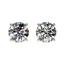 1 CTW Certified H-SI/I Quality Diamond Solitaire Stud Earrings 10K White Gold - REF-94H5M - 33049