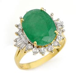 5.98 CTW Emerald & Diamond Ring 14K Yellow Gold - REF-141V8Y - 12951