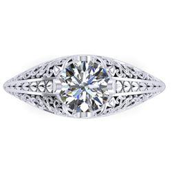 1 CTW Solitaire Certified VS/SI Diamond Ring 14K White Gold - REF-277M2F - 38523