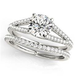 0.88 CTW Certified VS/SI Diamond Solitaire 2Pc Wedding Set 14K White Gold - REF-125K6W - 31979