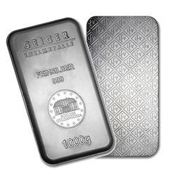 One piece 1 kilo 0.999 Fine Silver Bar Geiger Security Series-74694