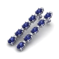 15.47 CTW Tanzanite & VS/SI Certified Diamond Tennis Earrings 10K White Gold - REF-189W3H - 29491