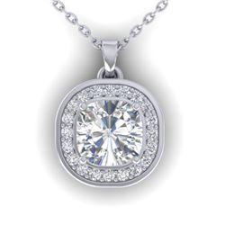 1.25 CTW Cushion Cut Certified VS/SI Diamond Art Deco Necklace 14K White Gold - REF-402A9V - 30339