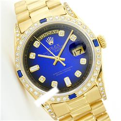 Rolex Men's 18K Yellow President, QuickSet, Diam Dial & Diam/Sapphire Bezel - REF-1457Y3X