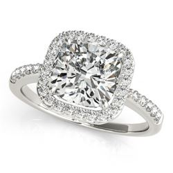 1.01 CTW Certified VS/SI Cushion Diamond Solitaire Halo Ring 18K White Gold - REF-222M2F - 27114