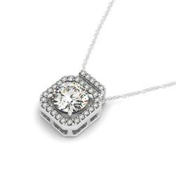 0.45 CTW Certified SI Diamond Solitaire Halo Necklace 14K White Gold - REF-51R8K - 30205
